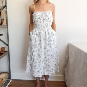 LPA Linen Floral White and Blue Midi Dress XS